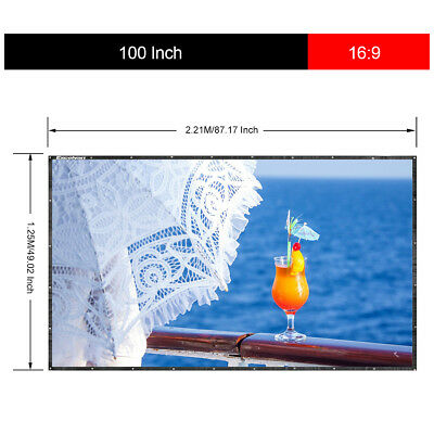 """100"""" Portable Foldable PVC Projector Screen 16:9 HD Home Theater 3D Projection"""