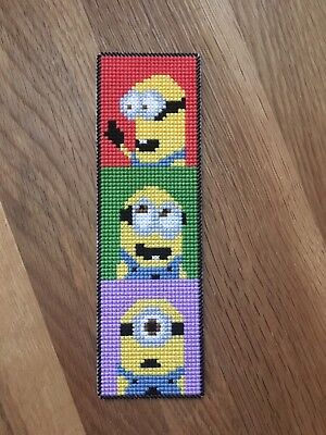 Completed Cross Stitch - Bookmark - Minions
