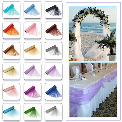 25m X 29cm Organza Roll Sheer Fabric Wedding Party Chair Bows Table Runner Sash
