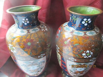 LOVELY PAIR 19TH C JAPANESE  CLOISONNE  VASES  VERY GOOD CONDITION    1890s