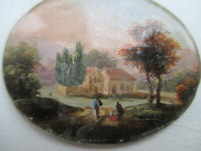 Antique Miniature Oil Painting Landscape Under Glass Georgian  Circa 1820
