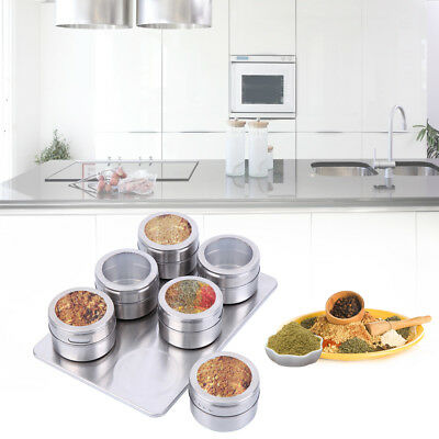 6X Spice Tin Stainless Steel Storage Container Jar Clear Lid Set Storage Box
