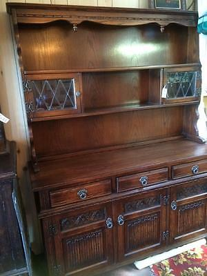 Antique Vintage Wooden Oak Leadlight Buffet Sideboard Dresser Display Cabinet