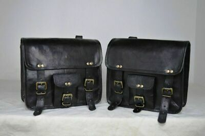 Motorcycle Side Saddlebags Pouch Black Leather Side Pouch SaddlePanniers 2Bags