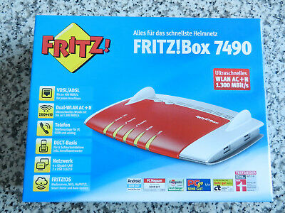 AVM FRITZ!Box 7490 1300 Mbps Wireless N Router - Rot/Silber (20002584)