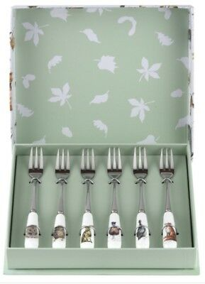 Royal Worcester Wrendale Designs Set Of 6 Pastry Cake Forks