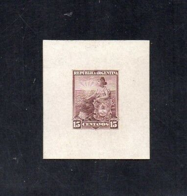 Argentina, 1899 issue, die proof in brown, size 4 x 5 cm, thick paper