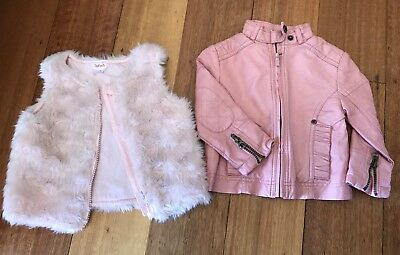 Size 1 Pink Fluffy Vest And Pink Faux Leather Jacket