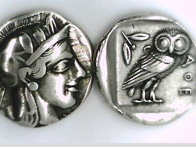 Ancient Greek Tetradrachm Silver Plated Attica ATHENS Owl Eule Repro coin