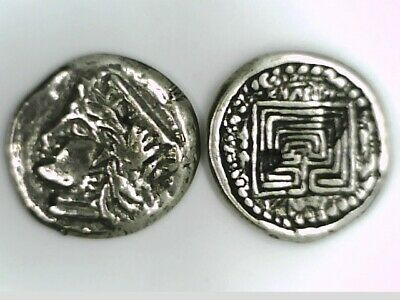 Greece Crete Knossos Stater Goddess Hera and Labyrinth coin Silver plated Repro