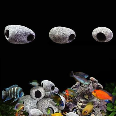 Rock Cave Ceramic Hide Stone Decoration Fish Tank Aquarium Ornament.···
