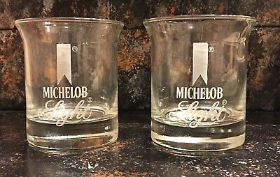 2 Vintage Flared Michelob Light Glasses * Beer Drinking Glass * Etched