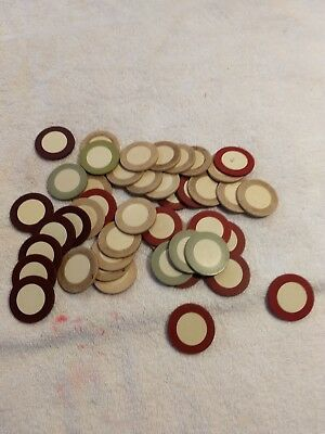 """Lot of 43 Vintage clay Poker Chips  mixed colors 1.5"""" diameter"""