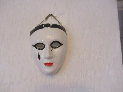 Venetian Pierrot ceramic wall mask. Bought in Venice. Good condition.
