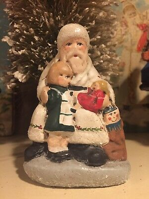 RARE WALNUT RIDGE Collectibles 1998 white BELSNICKLE SANTA With Child