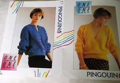 ORIGINAL, PINGOUIN, KNITTING LEAFLET No. 0066 'ONE SWEATER ONE BALL' 4 designs