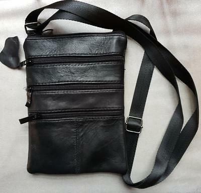 Soft Real Leather Neck Wallet Security Pouch Purse Travel Passport Money Strap