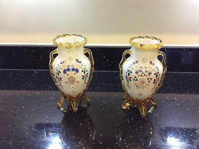 REDUCED Pair Of Handpainted Victorian Opaline Glass Vases