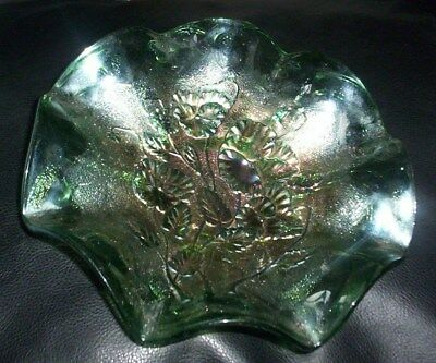 Lovely Rare Vintage Collectable Green Carnival Glass Dish Pansies