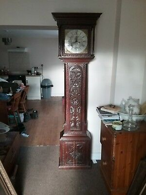 Longcase Clock Otley Yorkshire Maker On Dial Grandfather Carved Oak Case 8 Day