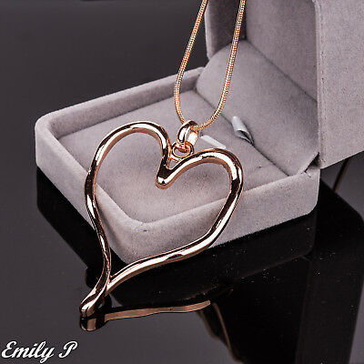 Long Necklace Rose Gold Tone Statement Lagenlook Necklace