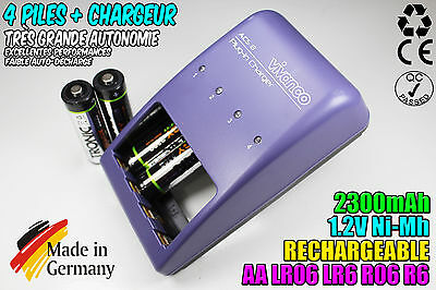 Loader Vivanco Charger + 4 Battery Rechargeable Batteries Ni-Mh 1.2V Aa 2300Mah