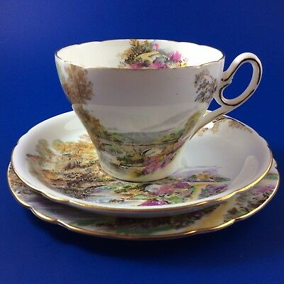 Shelley Heather Fine Bone China Tea Cup And Saucer Trio - 4 Sets Available