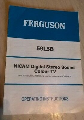 FERGUSON 59L5B Colour TV Television Instruction Book User Guide Owner's Manual