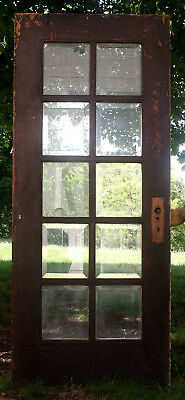 "34""x80"" Antique Vintage Oak Wood Exterior Entry French Door 10 Window Glass Lite"