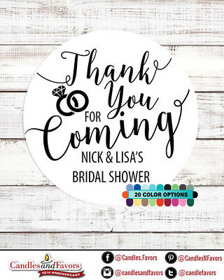 Thank you for coming! Bridal Shower Personalized Party Favor Round Stickers