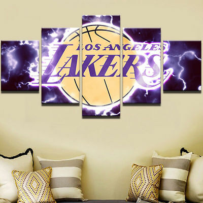 Los Angeles Lakers Bball Framed Canvas Five Piece Wall Art 5 Panel Home Decor