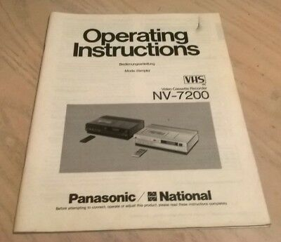 National Panasonic NV-7200 Video Cassette Recorder Instruction Book Guide Manual