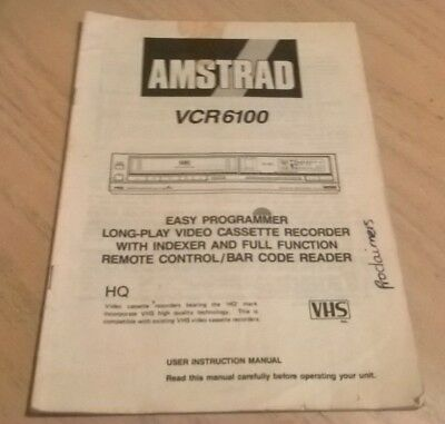 Amstrad VCR6100 VHS Video Cassette Recorder Instruction Book User Guide Manual