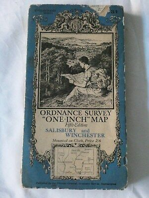Old Vintage One-Inch Fifth Edition Map Salisbury and Winchester - OS No. 131