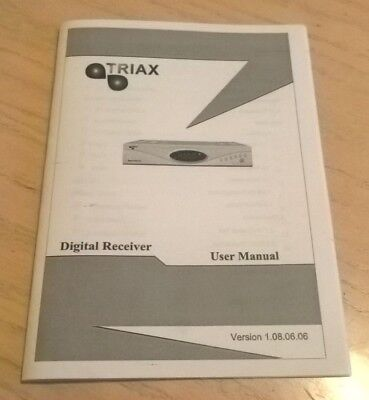 Triax Satellite Receiver Box Instruction Book Manual Guide Version No 1.08.06.06
