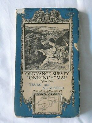 Old Vintage One-Inch Fifth Edition Map Truro and St. Austell - OS No. 143