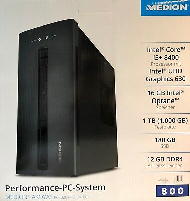 Medion Multimedia PC System Akoya MD34100 P62020 i5+ Win10 12GB 1TB 180GB Neu