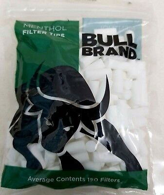 Filter Tips MENTHOL  Bull Brand Cigarette Tobacco  Resealable Bag 150 6mm Tips
