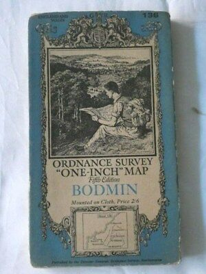 Old Vintage One-Inch Fifth Edition Map BODMIN - OS No. 136