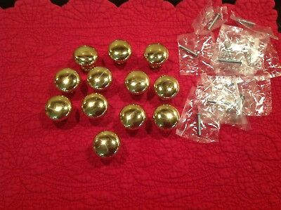 """Solid Brass Round Cabinet Knobs Lot Of 12 1 - 1/4"""" Drawer Pulls"""