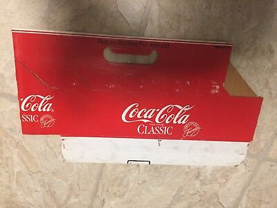 1980's Coca-Cola Coke Classic cardboard carrier case for 12 bottles Texas only