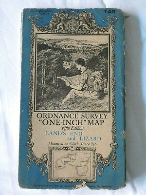 Old Vintage One-Inch Fifth Edition Map Land's End and Lizard  - OS No. 146
