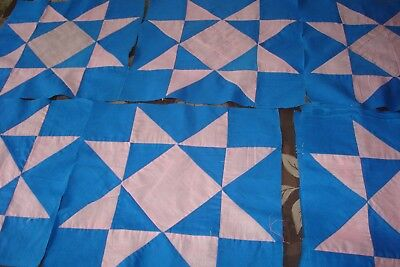 Vintage quilt block lot of 20 blue pink stars ? 13 1/2 square 1 diff nice lot