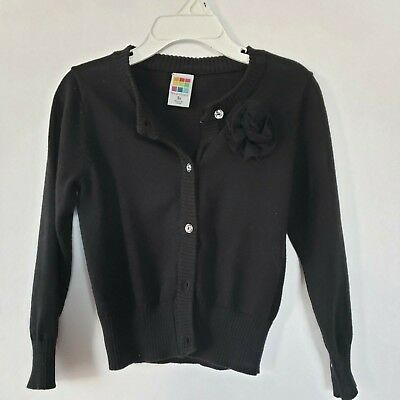 Toddler Girls Healthtex Black Button-up Sweater Cardigan with Bow Size 3T