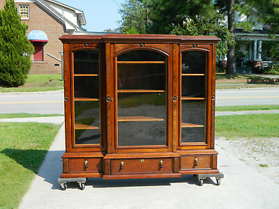 Walnut Victorian Triple Door Bookcase