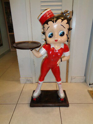 """Rare Betty Boop Life Size on Roller Skates Waitress/Butler Statue(36 by 21 by 9"""""""