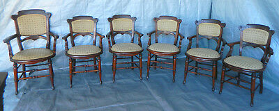 Set of 6 Walnut Victiorian Eastlake Dining Side Chairs circa 1880