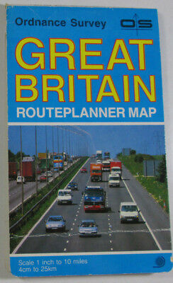 1988 Old Vintage OS Ordnance Survey Routplanner Map Great Britain 1 in to 10 mil