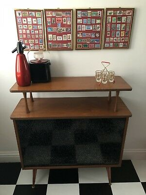 Vintage Retro 1950s/1960s Bar With Glass Sparkly Front & Atomic Legs