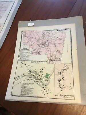 Original Antique 1870 Map Athol Massachusetts F.W Beers